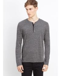 VINCE | Gray Cotton Jaspé Jersey Long Sleeve Henley for Men | Lyst