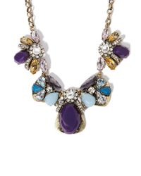 Forever 21 | Purple Clustered Faux Stone Statement Necklace | Lyst