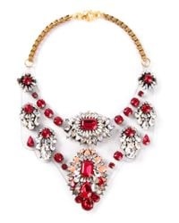Shourouk | Red 'scarlette' Bib Necklace | Lyst