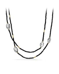 David Yurman | Metallic Dy Signature Bead Necklace With Black Spinel And Lapis Lazuli In Gold | Lyst