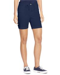 Lauren by Ralph Lauren | Blue Petite Drawcord Chino Shorts | Lyst