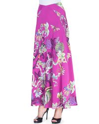 Etro - Purple Floral Menagerie Silk Maxi Skirt - Lyst