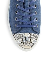 Miu Miu | Blue Denim Crystaltoe Laceup Sneakers | Lyst