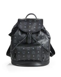 MCM | Black Heritage Medium Coated-canvas Backpack | Lyst