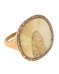 Monique Péan - White Fossilized Walrus Ring with Diamond Pave Pearls - Lyst