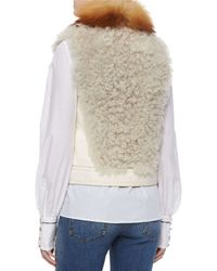 Roberto Cavalli - White Fox Fur-trimmed Shearling Vest - Lyst