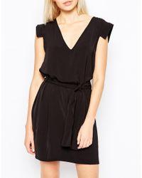 Monki - Black Tie Waist Dress - Lyst