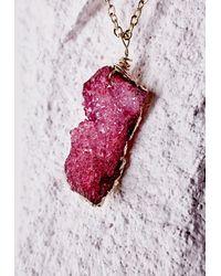 Missguided | Purple Semi-precious Stone Pendant Necklace Deep Pink | Lyst