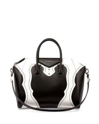 Givenchy | Black And White Calfskin Mini 'antigona' Convertible Tote | Lyst