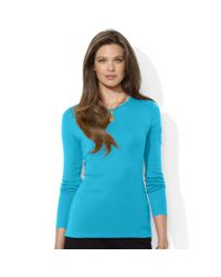 Lauren by Ralph Lauren | Blue Petite Long-Sleeve Crew-Neck Top | Lyst