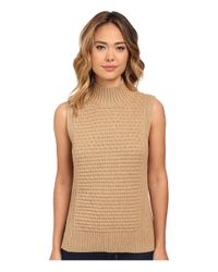 Vince Camuto | Natural Mock Neck Bobble Stitch Sweater | Lyst