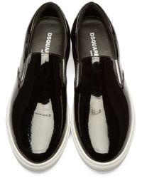 DSquared² - Black Patent Leather Slip-on Sneakers - Lyst