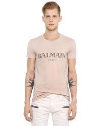 Balmain   Natural Logo Printed Cotton Jersey T-shirt for Men   Lyst