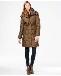 London Fog | Brown Faux-fur-collar Quilted Down Coat | Lyst