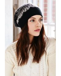 Urban Outfitters - Black Brushed Fair Isle Slouch Beanie - Lyst