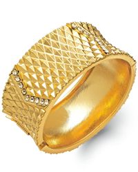 INC International Concepts - Metallic Gold-tone Pavé Hinge Bangle Bracelet - Lyst