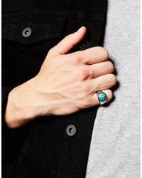 ASOS | Metallic Pinky Ring With Blue Stone for Men | Lyst