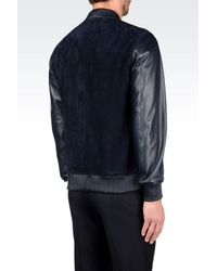 Emporio Armani | Blue Suede and Leather Bomber Jacket  for Men | Lyst