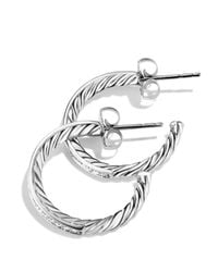 David Yurman | Metallic Sculpted Cable Diamond Earrings | Lyst