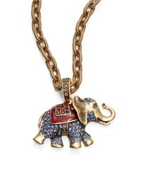 Oscar de la Renta | Brown Elephant Crystal Pendant Necklace | Lyst