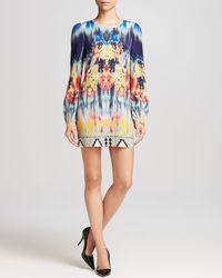 Twelfth Street Cynthia Vincent - Multicolor Printed Long-Sleeve Silk Mini Dress - Lyst