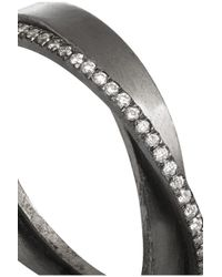 Inez & Vinoodh - Gray Oxidized Silver Diamond Interlinked Rings - Lyst