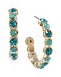 Carolee - Metallic Goldtone Cerulean Ombre Stone Hoop Earrings - Lyst
