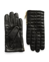 kate spade new york | Black Quilted Leather Driving Gloves | Lyst