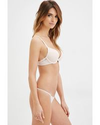 Forever 21 - Natural Lacy Microfiber Push-up Bra - Lyst