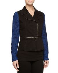 Stella McCartney - Black Tweed-sleeve Denim Jacket - Lyst