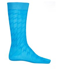 Pantherella - Blue Turquoise Holborn Houndstooth Socks for Men - Lyst