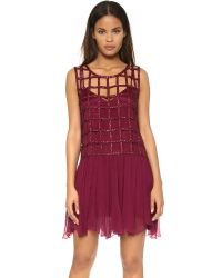 Free People | Red Sequin Shell Drop Waist Dress | Lyst