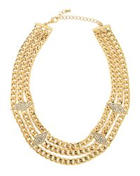 Fragments - Metallic Triple-layered Pave Crystal Station Necklace - Lyst