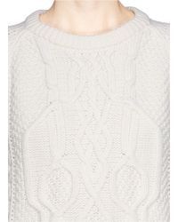 Alexander McQueen - Natural Skull Cable Knit Sweater - Lyst