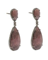 Adornia - Red Sapphire And Champagne Diamond Hudson Earrings - Lyst