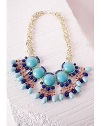 Missguided - Blue Oversized Bead Detail Necklace Turquoise - Lyst