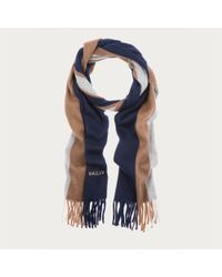 Bally | Blue Wool Jacquard Scarf for Men | Lyst