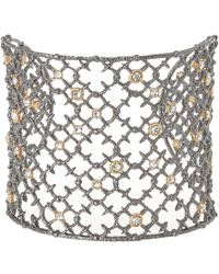 Alexis Bittar | Metallic Silver Crystal Studded Spur Lace Cuff Bracelet | Lyst