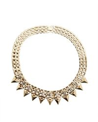R.j. Graziano | Metallic Gold And Crystal Spike Collar Necklace | Lyst