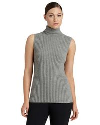 Lafayette 148 New York | Metallic Sleeveless Cashmere Turtleneck Sweater | Lyst