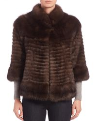 Saks Fifth Avenue - Brown Three-quarter Sleeve Sable Fur Jacket - Lyst