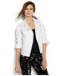 Vince Camuto | White Two By Zip-Front Moto Denim Jacket | Lyst
