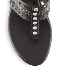 BCBGeneration - Black Quip Studded Wedge Sandals - Lyst