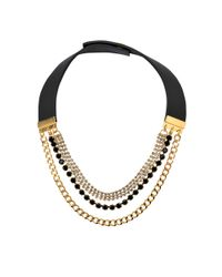 Marni | Black Chains And Strass Necklace | Lyst