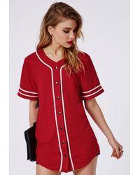 Missguided - Bad Gal Button Through Boyfriend Baseball Jersey Tee Red - Lyst