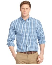 Izod | Blue Medium Plaid Button-down Long-sleeve Shirt for Men | Lyst