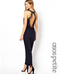 ASOS - Blue Exclusive Jumpsuit with Embellished Collar and Back - Lyst