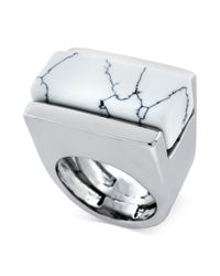 Vince Camuto - Metallic Silver Tone Marble Stone Cocktail Ring - Lyst