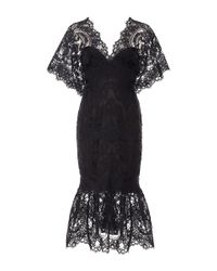 Marchesa | Black Corded Lace Cocktail Dress | Lyst