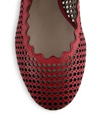 Chloé   Red Leather Scalloped Ballet Flats   Lyst